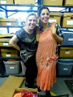 The Great Gatsby (2013) | Production designer Catherine Martin and her assistant Silvana at Helen Uffner Vintage Clothing (Long Island City, NY) where they obtained 1920's style beaded evening dresses and men's evening wear that reportedly inspired their costume reproductions for Baz Luhrmann's adaptation of Gatsby.