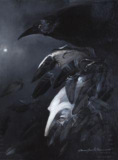 The Raven R2 Oil on Wood~Anne Bachelier