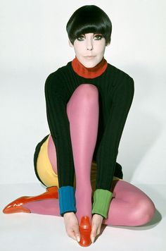 Peggy Moffitt modeling Rudi Gernreich design, 1971, photo by William Claxton*