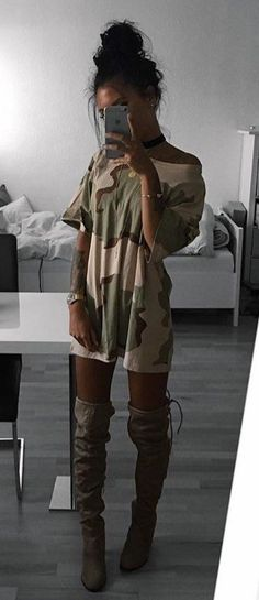 summer outfits  Camo Tee Dress   Grey OTK Boots