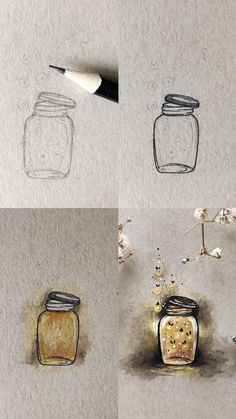 Firefly Mini Tutorial - M. - Firefly Mini Tutorial Fireflies in a jar illustration mini tutorial with step by step process photos. This illustration was done using watercolours and a micron pen on toned tan mixed media paper. Arrow Tattoo, Compass Tattoo, Flower Tattoo Designs, Flower Tattoos, Mini Tattoos, Body Art Tattoos, Female Tattoos, Diy Tattoo, Tattoo Ideas