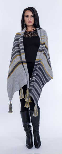 Shawls, poncho, wrap, cover up, grey, yellow,mustard, wool, Peruvian wool, women's clothing, accessories