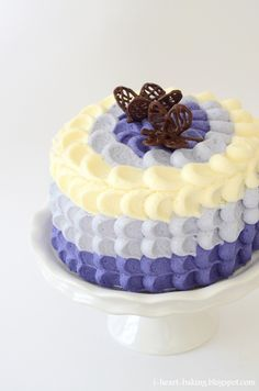 i heart baking!: purple ombre petal cake with chocolate butterflies for mother's day
