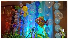 examine closely-balloons hung from monofilament--- see fish and octopus made from balloons 2 saves 1 like Under The Sea Theme, Under The Sea Party, Vbs Themes, Party Themes, Party Ideas, Ocean Party, Vbs Crafts, Festa Party, Idee Diy