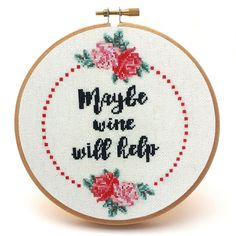 Cross Stitch Design Maybe Wine Will Help wine cross stitch pattern - Are you drowning in stress and the daily grind is getting to you? Well here's the perfect solution! The Maybe Wine Will Help fun cross stitch pattern Cross Stitch Borders, Cross Stitch Flowers, Cross Stitch Designs, Cross Stitching, Cross Stitch Embroidery, Embroidery Thread, Cross Stitch Free, Free Cross Stitch Patterns, Cross Stitch Letters