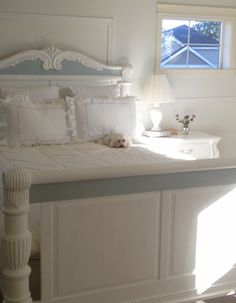 Previously pine bed and nightstand were painted with Ann Sloan Chalk Paint!