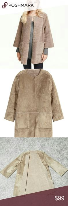 NWT H&M Reversible Suede & Sherpa Coat S Brand new, words cannot describe how fun and unique this coat is! Wear as Suede or Sherpa. 3/4 length sleeve so it's fun to layer with sweaters. Size small but can truly fit up to a large. NO TRADES PLEASE DON'T ASK ME! H&M Jackets & Coats