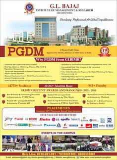 GLBIMR, Greater Noida is India's leading B-School providing Post Graduate Diploma in Management (PGDM) Program approved by All India Council for Technical Education (AICTE), Ministry of HRD, Govt. of India. GLBIMR Offers dual specialization whereby students can specialize in two functional areas of Management. These areas are Marketing, Human Resources, Operations Management, Finance, International Business and Information Technology.