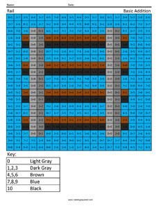 Minecraft Rail Addition And Subtraction Printable Coloring SheetsColor