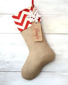 Burlap Christmas Stocking - Red/Ivory Chevron Cuff