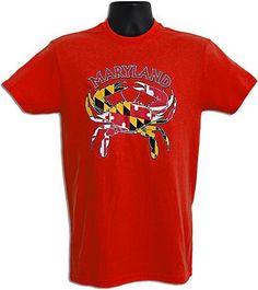 TSMD06R3 T-Shirt Maryland Flag Crab RED