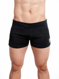 """Eros Sport Core Vibe, Yoga Cross Training Short, Black w/Blue Stitching. Designed in California & Made in USA. Microfiber breathable fabric for cooler workouts. Elastic waistband, Slim fit 30 - 32"""" waist. Inside front liner with jock pocket."""