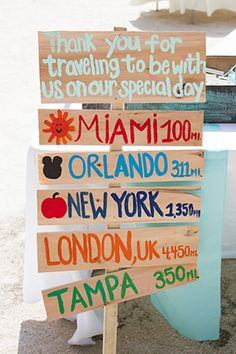 a thanks to the guests for traveling so far for their wedding what a great beach wedding signswedding