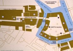 Map of the Jewish quarter in Venice, Italy, showing the Ghetto Vecchio and Ghetto Nuovo sections and adjacent canals.  Photo credit: Florida Center for Instructional Technology