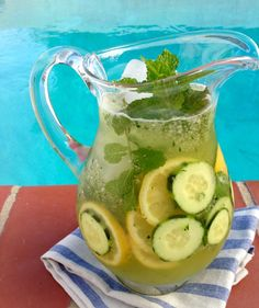 Cucumber Lemonade Recipe: cucumber, lemon and mint make this perfectly quenching healthy lemonade for a hot summer day.