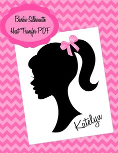 Barbie Silhouette Personalized T shirt Heat Transfer - DIY Printable PDF File - Girl Party- Barbie Party - Krown Kreations via Etsy