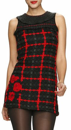 Black & Red Woven Knit Dress