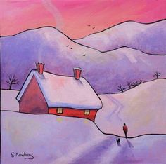 One Winter Morning by Gillian Mowbray Watercolor Architecture, Watercolor Landscape, Landscape Art, Watercolour Painting, Landscape Paintings, Rainbow Art, Art Moderne, Winter Art, Winter Drawings
