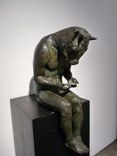 "Beth Carter, Minotaur Reading II, Bronze, 23"" x 14"" x 11"" #art #sculpture #mythology"