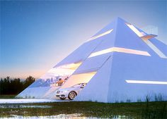 Beautiful pyramid shaped house features large windows, small balcony, and integrated garage for your car. Pyramid House was designed for creative architecture competition, by talented Mexican architect Juan Carlos Ramos.