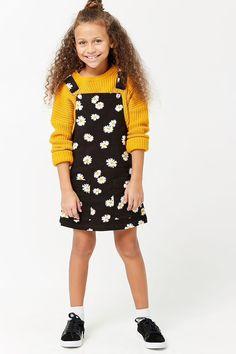 Girls Denim Daisy Graphic Overall Dress (Kids)