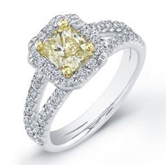 canary yellow princess cut diamond engagement rings by tiffany   Yup, this is the one....