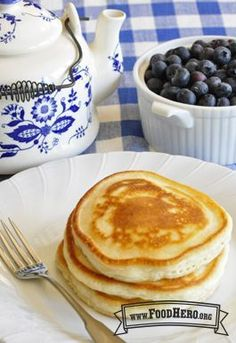 """""""Our Favorite Pancakes without eggs! That's right, our favorite and easy recipe for yummy pancakes, top with fresh fruit, applesauce or yogurt! And you do not need eggs to make them!"""" Make it vegan pancakes using almond milk, or water. Egg Free Recipes, Baby Food Recipes, Cooking Recipes, Healthy Recipes, Pancake Recipes, Eggless Pancake Recipe, Pancake Toppings, Crepe Recipes, Cooking Games"""