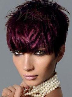 Red Violet Hair Color Bob Hairstyles www. Red Violet Hair Color Bob Hairstyles www. Red Violet Hair, Burgundy Hair, Purple Pixie, Deep Burgundy, Deep Purple, Burgundy Highlights, Maroon Hair, Short Purple Hair, Peekaboo Highlights