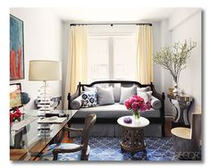 A fresh beautiful space. I love the small pops of color. Subtle and sweet.