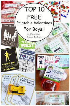 Top 10 {FREE} Printable Valentines Cards for Boys!   Preschool Powol Packets