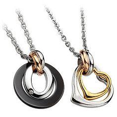 Luxury Lovers Titanium St Necklaces with Created Diamond Jewelry