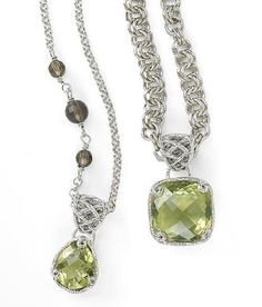 Signature Sara Blaine. A colossal 11-carat cushion checkerboard peridot quartz is cradled in interwoven strands of textured sterling silver, dangling from a double-link simulated rhodium-plated chain. Intricate sterling silver toggle closure. Pendant is removable. (17 Inches long) shop online 24/7 @ http://donnaaquilino.jewelry.willowhouse.com