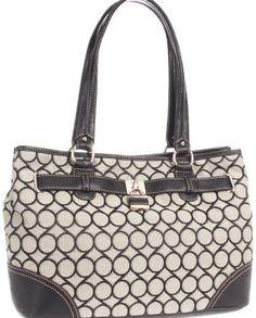 Nine West 9s Jacquard 0240002NW Satchel Handbag,Black/Ivory/Black,One Size