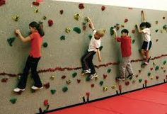 CLIMBING WALL [USD 11,000].  A climbing wall that is traversed from left to right instead of bottom to top. Low height of hand holds provides safe play with a challenge