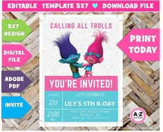Download trolls birthday invitation editable edit with adobe download trolls birthday invitation editable edit with adobe ticket format 3 per page instant download diy print today trolls party by ato stopboris Image collections