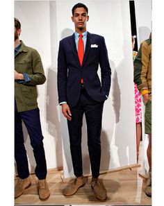 "J.Crew  ""The over-dyed navy seersucker suit with sea blue shirt and coral cotton tie. A must have suit and look for Spring 2013.""—Ted Stafford, GQ Fashion Market Director"