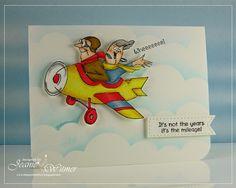 Art Impressions Hampton Art Michael's clear stamp set. SC6049 Ai His & Hers Flying High... Handmade  Happy Birthday card!