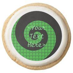Personalized Green Swirl Cookies Round Premium Shortbread Cookie