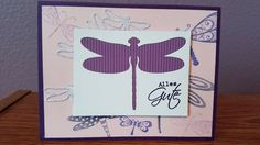 This Birthday card was made with paper and stamps from general Craft stores.  The cutouts were made with Stampin Up framelit set Detailed Dragonfly.  For ink I used Stampin Up Wisteria Wonder, Elegant Eggplant, Brilliance Tsukineko Pearlescent Lavender and Versa Magic Spring Pansy.