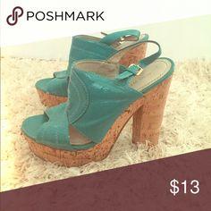 Nine West Turquoise wedge heel Size 7 Gently used wedge heel. Nine West Shoes Wedges