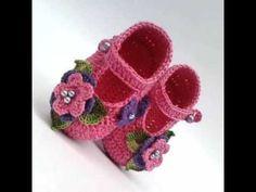 Como hacer unos lindos Zapatitos tejidos a Crochet para bebe
