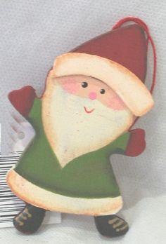 Babbo Natale in legno, sagoma di cm.5,5x9. Decorazione di Natale da appendere.