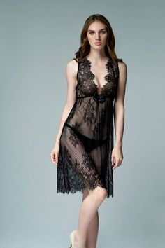 30008 Black Panther - black chemise from Chantilly lace (erotic lingerie, dress, robe, lace lingerie Black Lingerie, Lingerie Dress, Silk Mini Dress, Chantilly Lace, Beautiful Lingerie, Black Panther, Night Gown, Sexy, Feminine