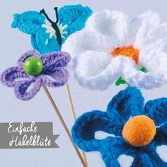 Einfache Häkelblüte Material, Home Made, Weaving, Threading, Tutorials, Do Crafts, Scissors, Game, Wool