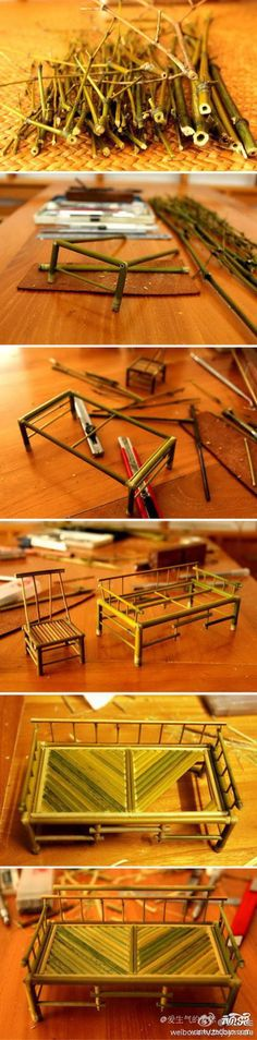 Möbel aus alten Kulli Mienen / Bambus u.ä. DIY Mini Bamboo Furniture tutorial