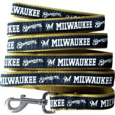 Pets First Milwaukee Brewers Pet Leash, Small, Black