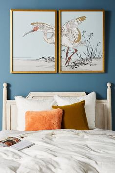 Gilded Heron Diptych Wall Art by Anthropologie in Blue, Decor Mirror Wall Art, Wall Art Decor, Wall Décor, Mirrors, Cheap Wall Art, Farmhouse Wall Decor, Heron, Anthropologie, Home Decor