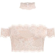 Ayana White Eyelash Lace Bralet Crop Top Choker (€19) ❤ liked on Polyvore featuring tops, bralette crop top, white crop top, white bralette tops, crop top and white top