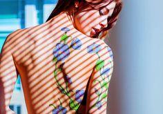 Sensuous Floral Back Tattoo