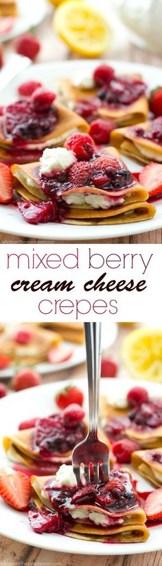 Filled with a tangy lemon cream cheese and topped with an unbelievable triple-berry sauce, these stunning crepes are a dream for any brunch!